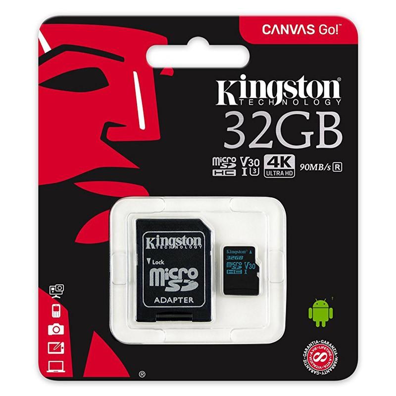 Tarjeta MicroSDHC 32GB Clase 10 UHS-I U3 V30 Kingston Canvas Go! c/adapt