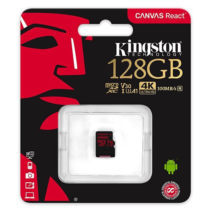 Tarjeta MicroSDXC 128GB Clase A1 UHS-I 3 Kingston Canvas React