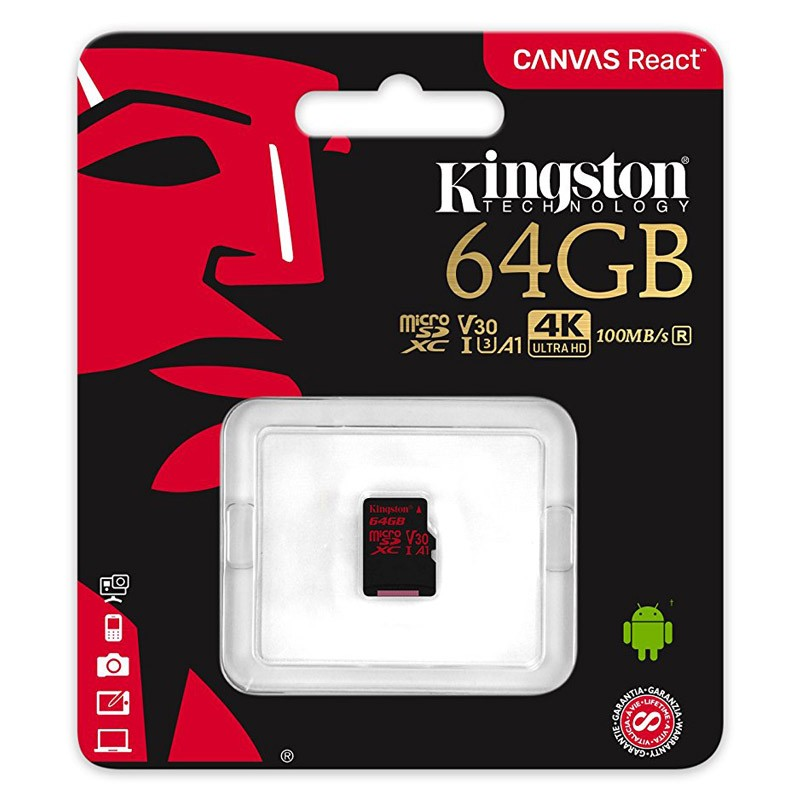 Tarjeta MicroSDXC 64GB Clase A1 UHS-I 3 Kingston Canvas React