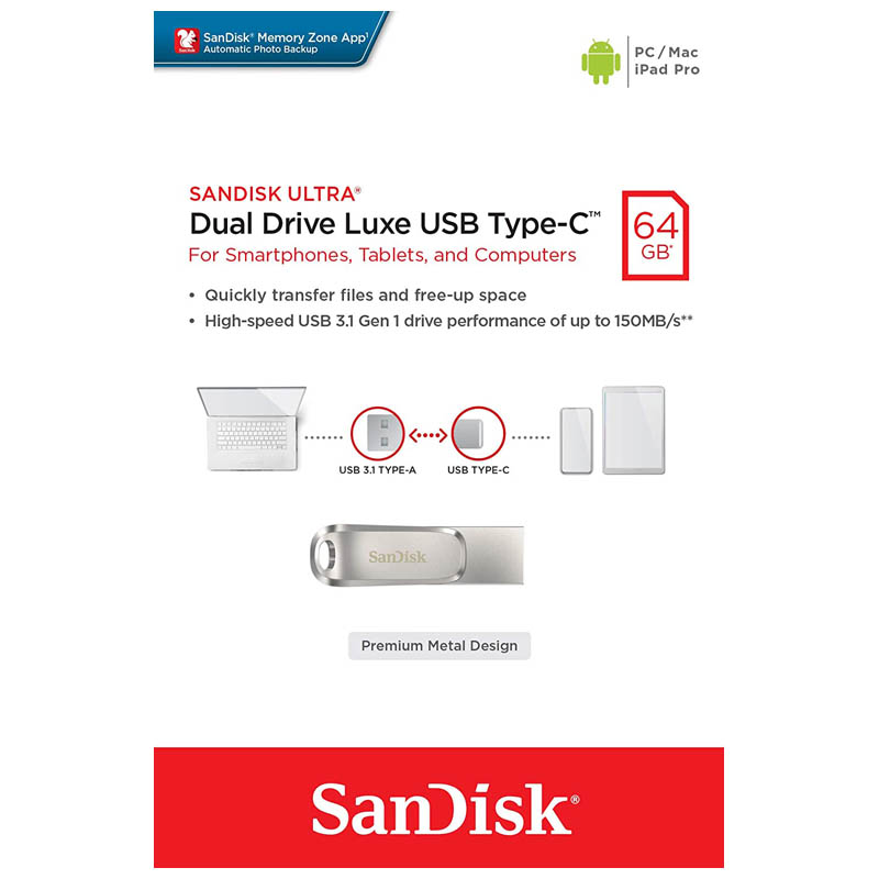 Pendrive 64GB SanDisk Ultra Dual Drive Luxe USB Type-C
