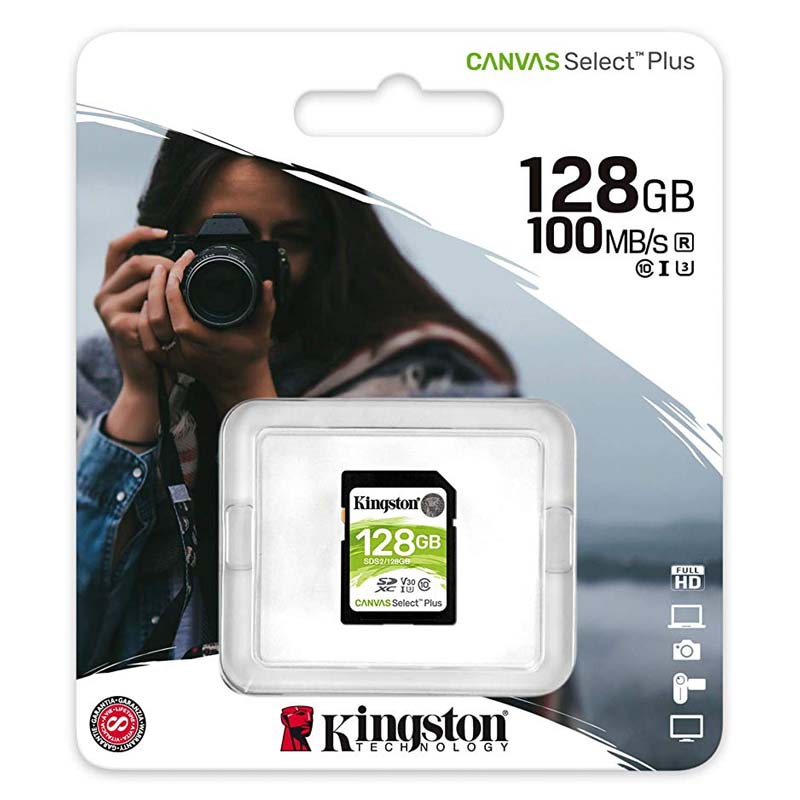 Kingston Canvas Select Plus Tarjeta SDXC 128GB C10 UHS-I U3 V30 100MB/s