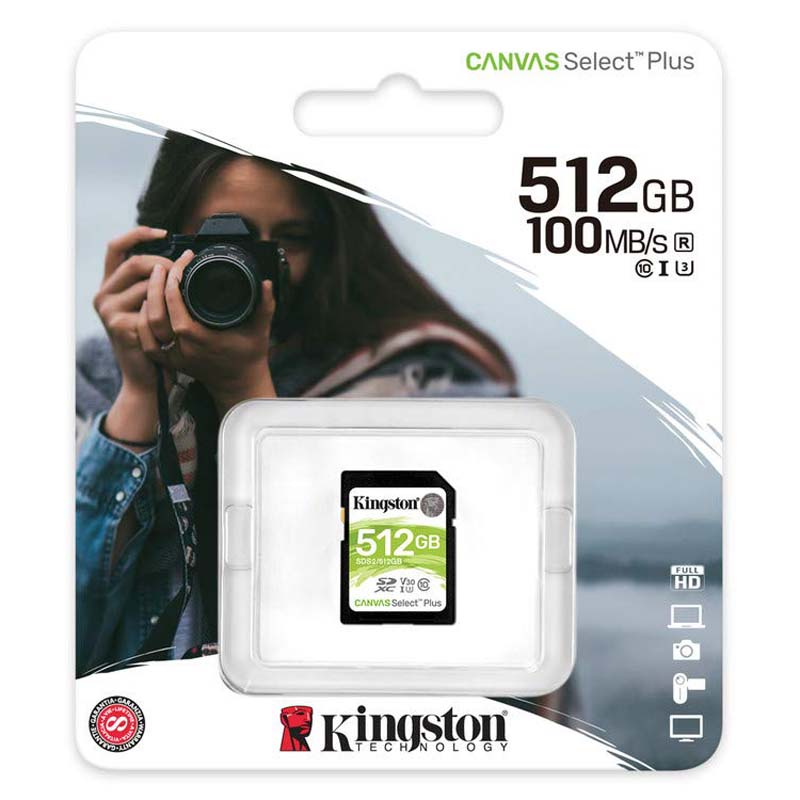Kingston Canvas Select Plus Tarjeta SDXC 512GB C10 UHS-I U3 V30 100MB/s