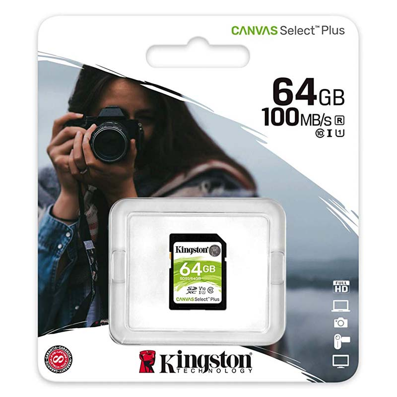 Kingston Canvas Select Plus Tarjeta SDXC 64GB C10 UHS-I V10 100MB/s