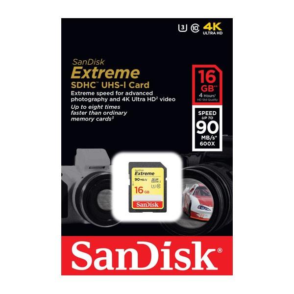 Sandisk Extreme SDSDXNE-016G-GNCIN Tarjeta SDHC 16GB Clase 10 UHS-I U3