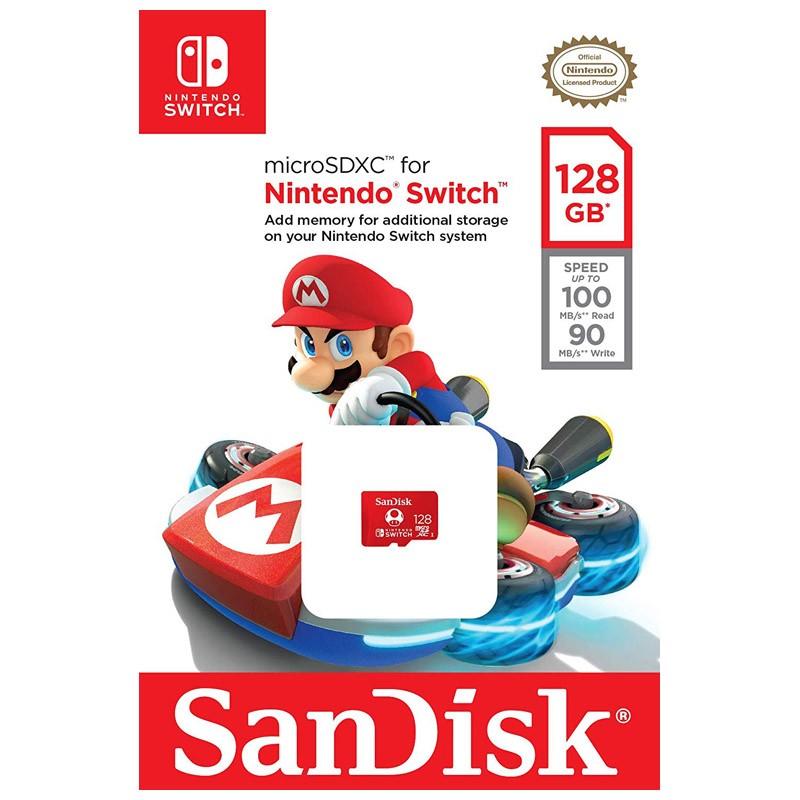 Tarjeta MicroSDXC 128GB UHS-I U3 Sandisk Nintendo Switch - Logo Super Mario