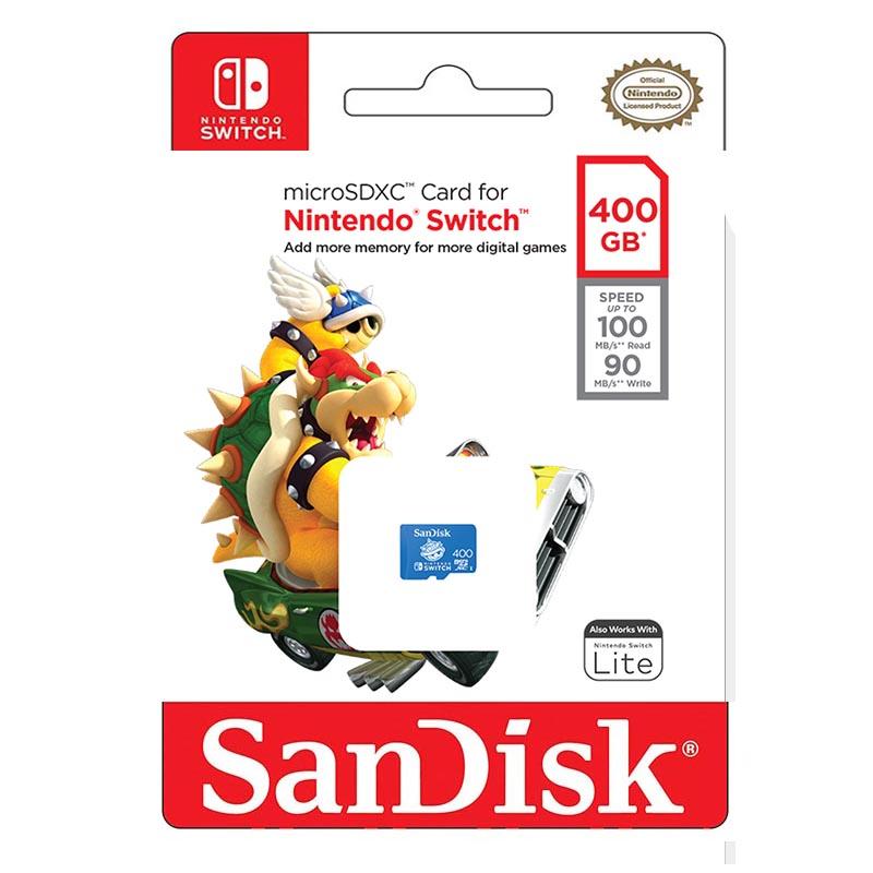 Tarjeta MicroSDXC 400GB UHS-I Sandisk Nintendo Switch - Blue Shell