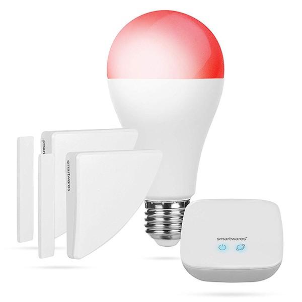 Kit Alarma, Bombilla Inteligente y Contacto de Puerta Smartwares SH8-99401