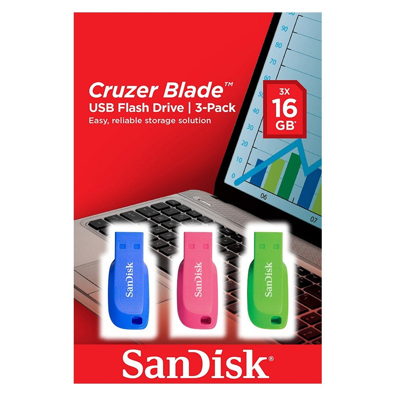 Pendrive 16GB Sandisk Cruzer Blade SDCZ50C-016G-B46T (3 Unidades)