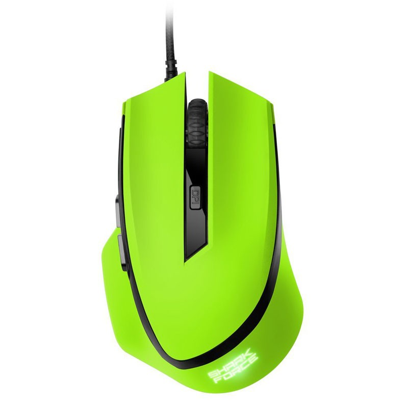 Ratón Óptico USB Sharkoon Shark Force 1600DPI / Mano Derecha / Verde