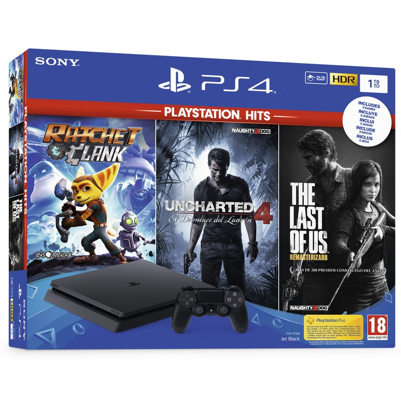 Sony PlayStation 4 Slim 1TB + Ratchet&Clank + Uncharted 4 + The Last of Us
