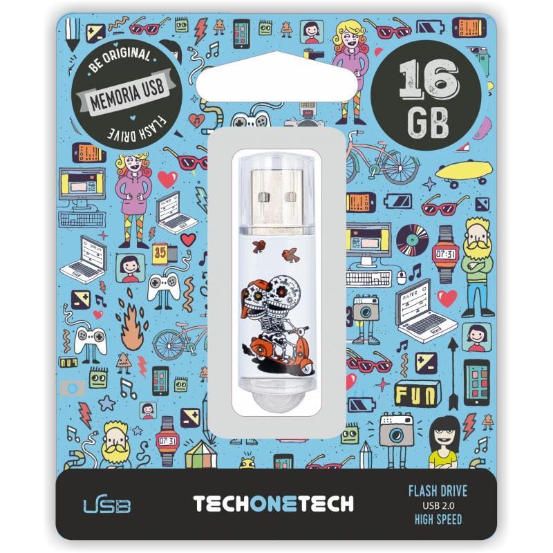 Pendrive 16GB Tech1Tech TEC4002-16 Calavera Moto