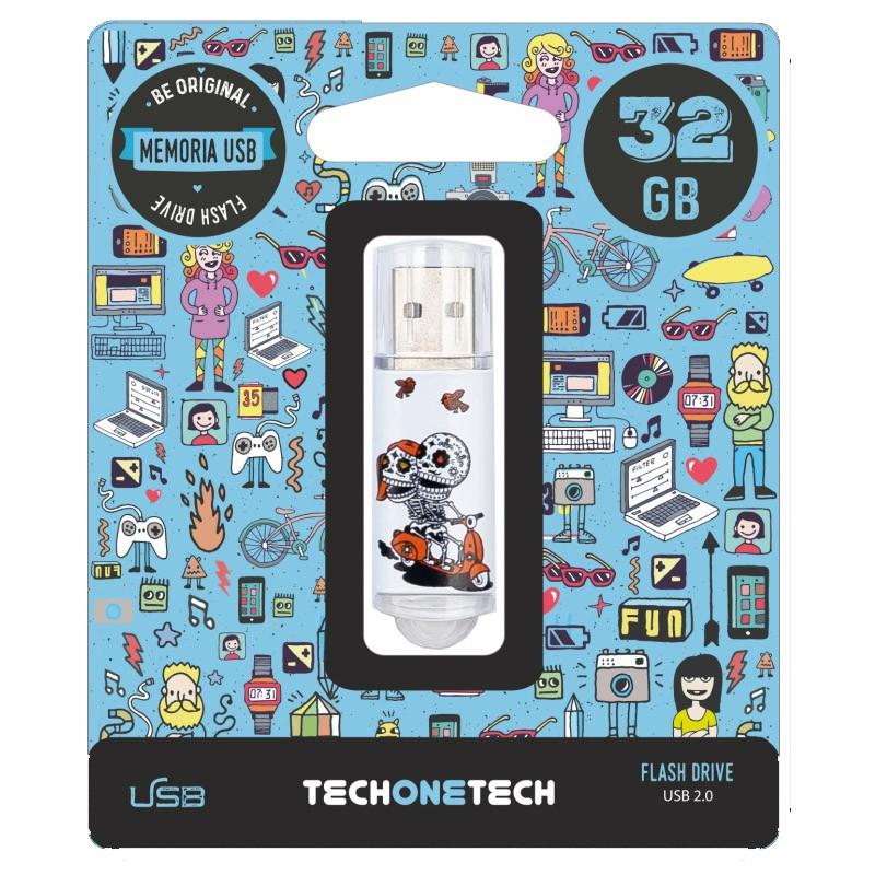 Pendrive 32GB Tech1Tech TEC4002-32 Calavera Moto