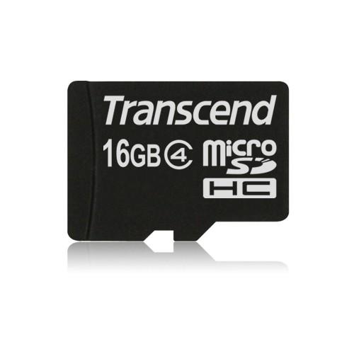 Tarjeta MicroSDHC 16GB Clase 4 Transcend (Con Adaptador)