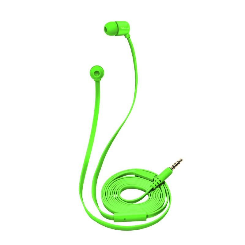 Auriculares con micrófono trust duga in-ear neon green