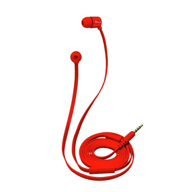 Auriculares con micrófono trust duga in-ear neon red