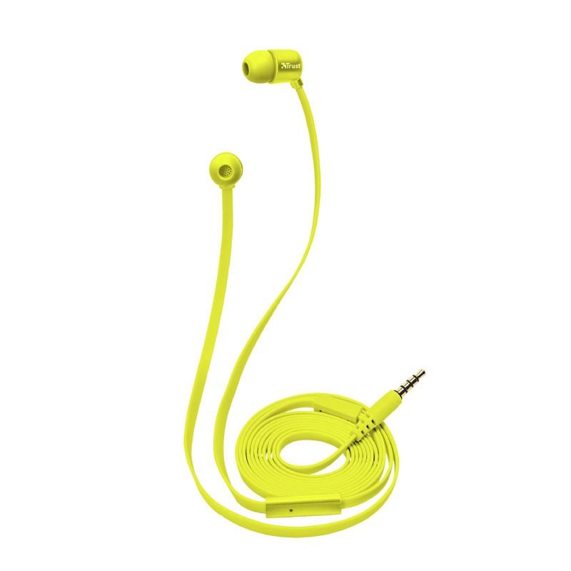 Auriculares con micrófono trust duga in-ear neon yellow