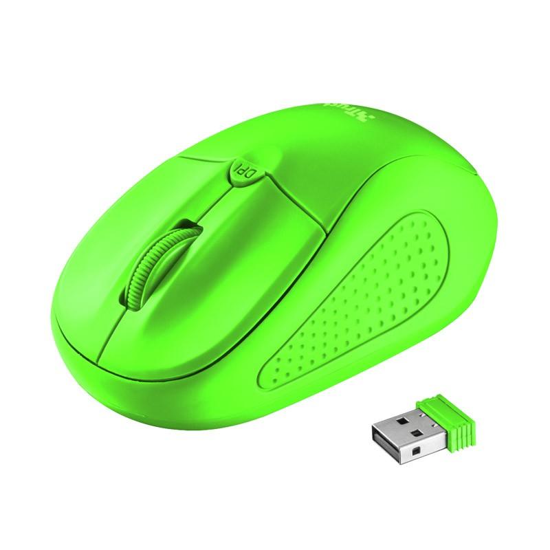 Ratón inalámbrico trust primo wireless neon green