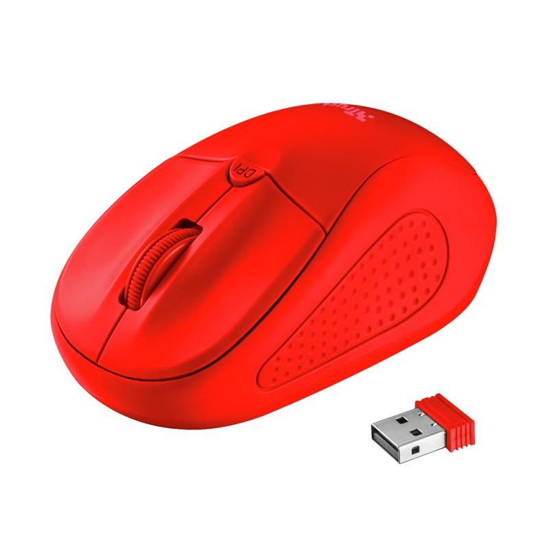 Ratón inalámbrico trust primo wireless neon red
