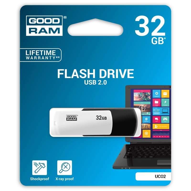 Pendrive 32GB GoodRam UCO2 Negro - Blanco