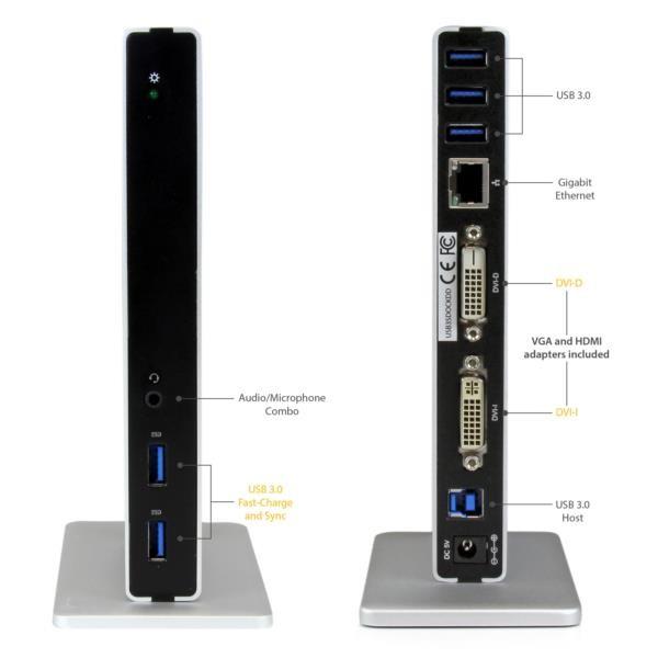 Base de Conexion Universal USB 3.0 Doble DVI Ethernet