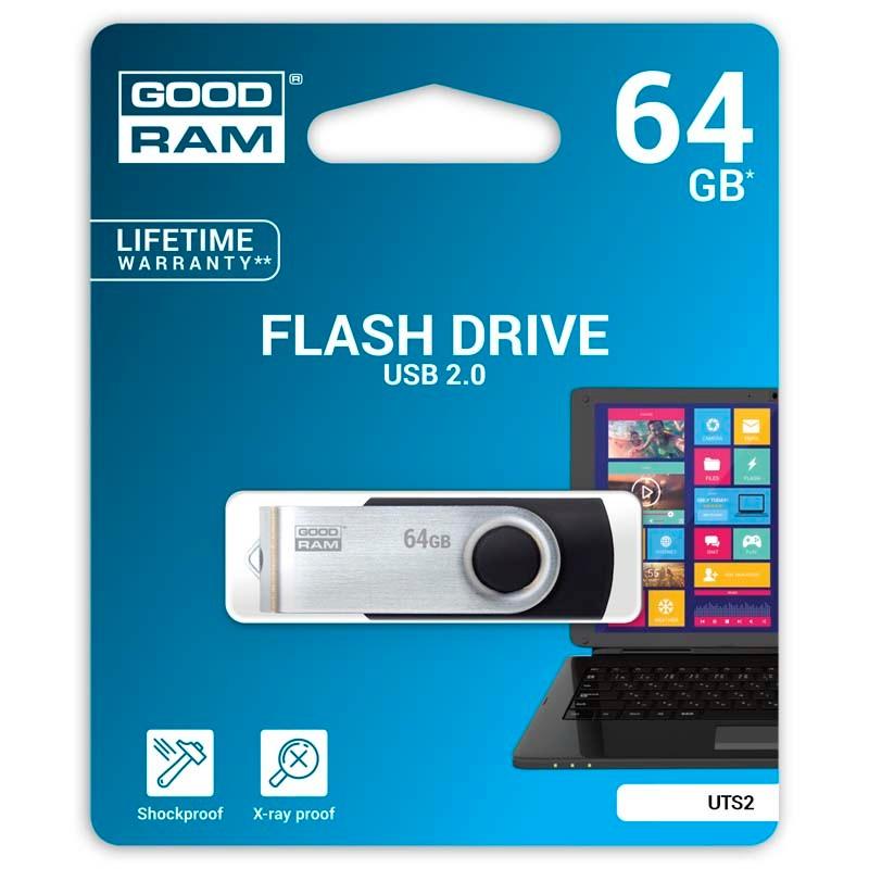 Pendrive 64GB GoodRam UTS2 Negro