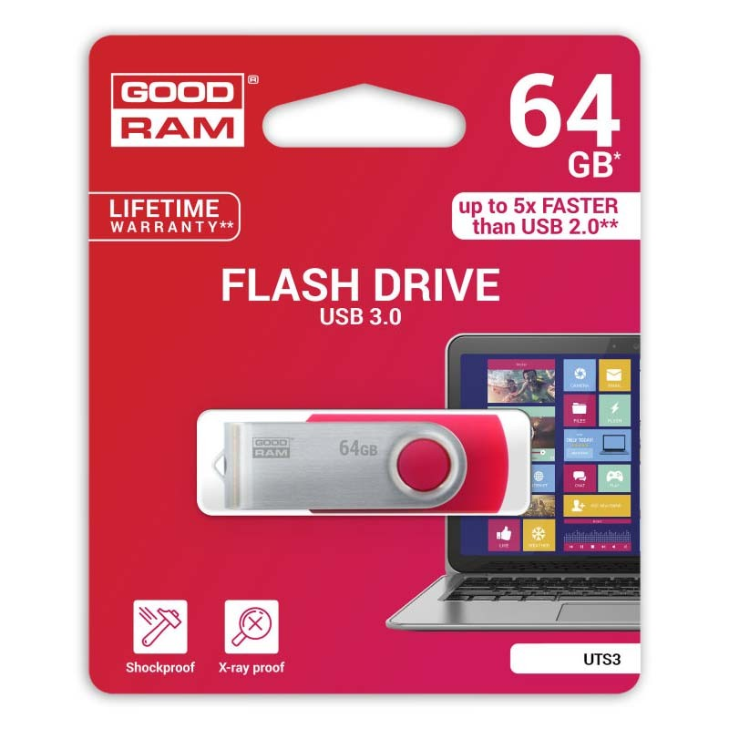 Pendrive 64GB GoodRam UTS3 Red USB 3.0