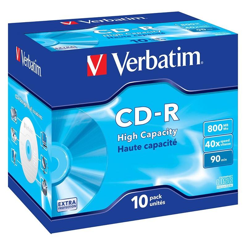 CD-R 40x 800MB Verbatim Alta Capacidad 90 min Caja Jewel 10 uds