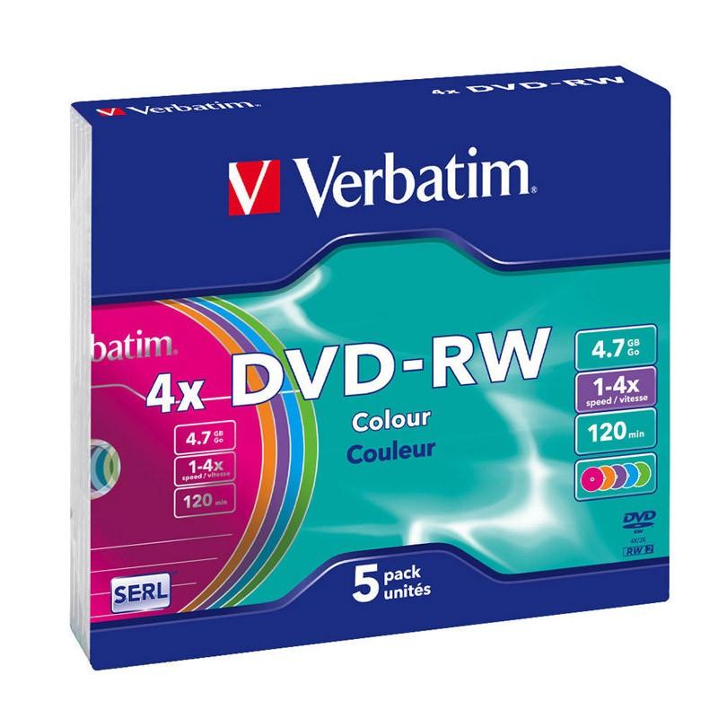 DVD-RW Verbatim 4x Colours Caja Slim Pack 5 uds