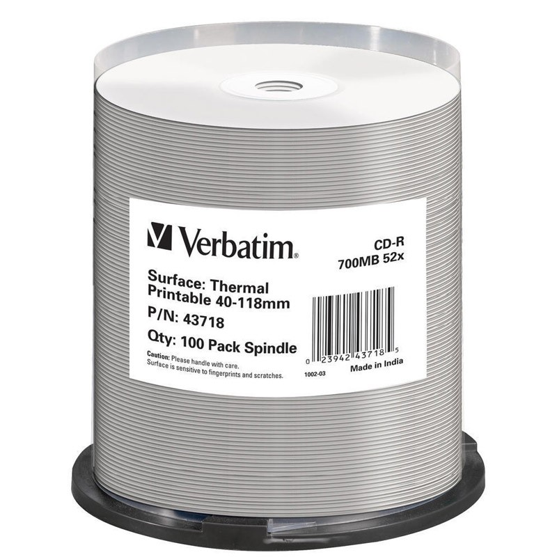 CD-R 52X Verbatim Thermal Printable No ID Brand Tarrina 100 uds