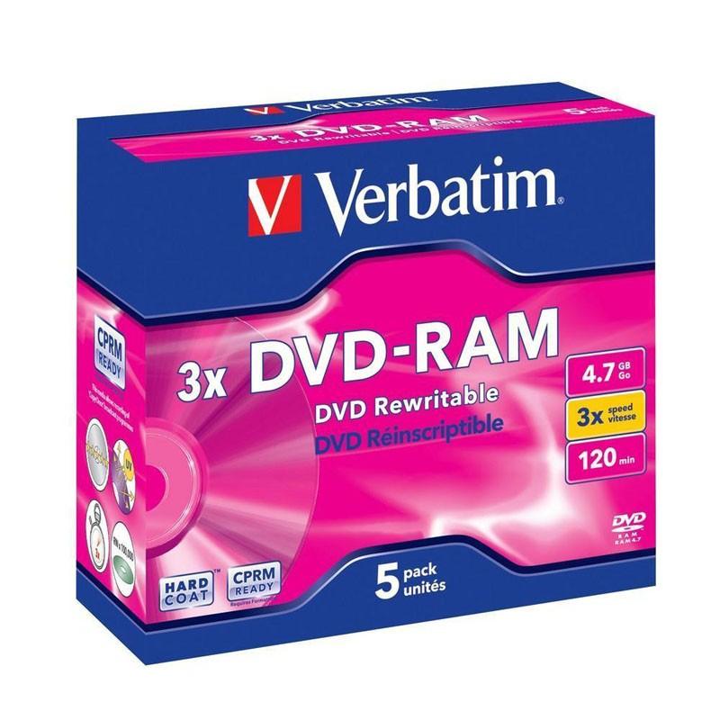 DVD-RAM 4.7GB 3x Verbatim JewelCase Case pack 5 uds