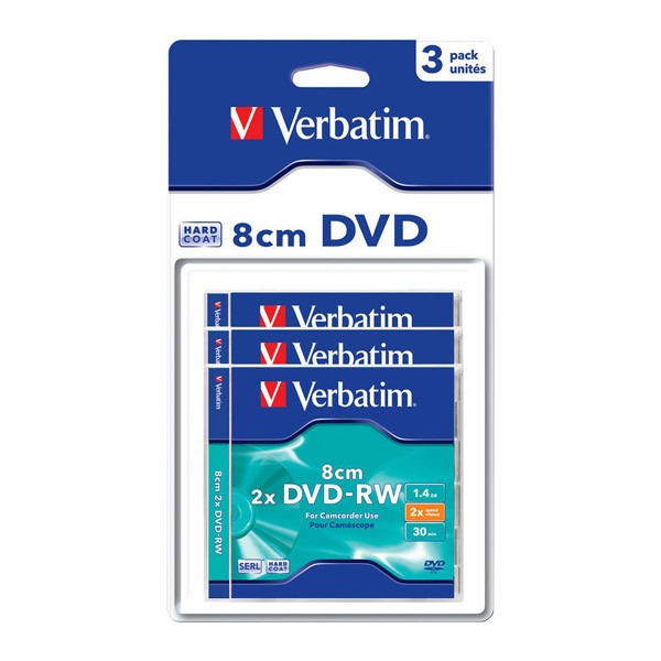Mini DVD-RW Verbatim 2x Matt Silver Caja Jewel Pack 3 uds