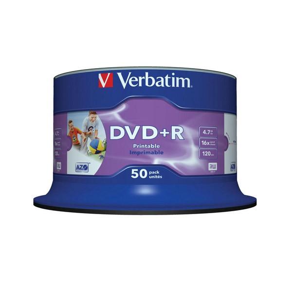 Dvd+r 16x verbatim printable wide id tarrina 50 uds