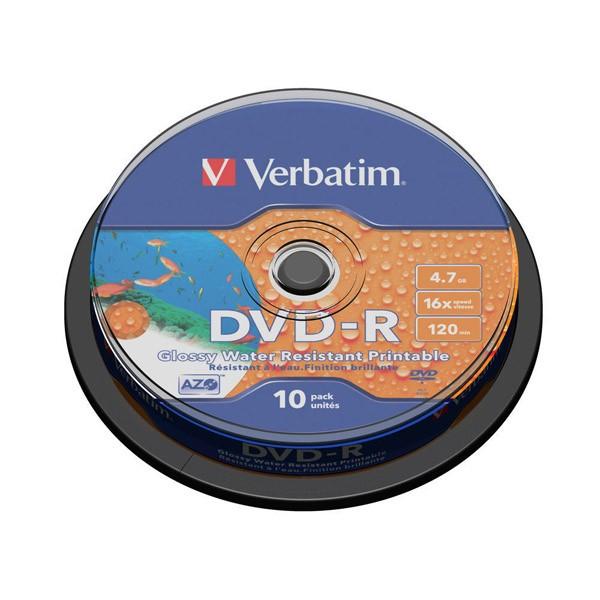 Dvd-r 16x verbatim wide printable water resis no id tarrina 10 u