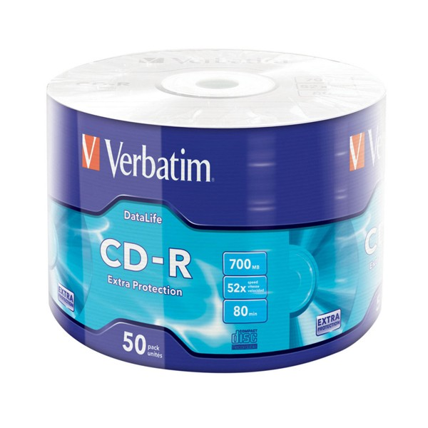 Cd-r 52x 700mb verbatim extra protection bobina 50 uds