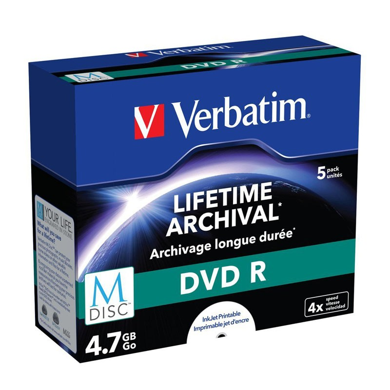 M-disc dvd verbatim ff printable caja jewel 5 uds