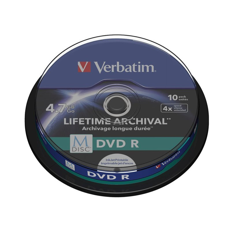M-Disc DVD Verbatim FF Printable Tarrina 10 uds