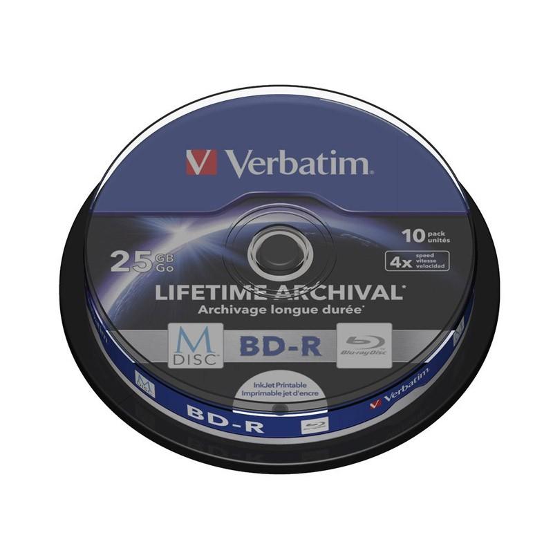 M-Disc BD-R SL 25GB 4x Verbatim Tarrina 10 uds