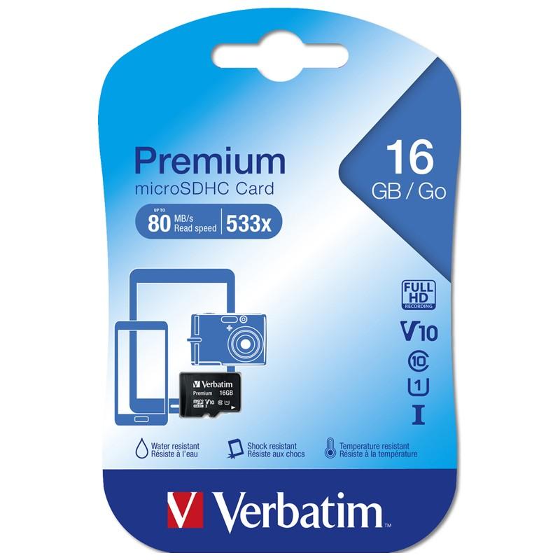 Tarjeta MicroSDHC 16GB Clase 10 UHS-I Verbatim Premium