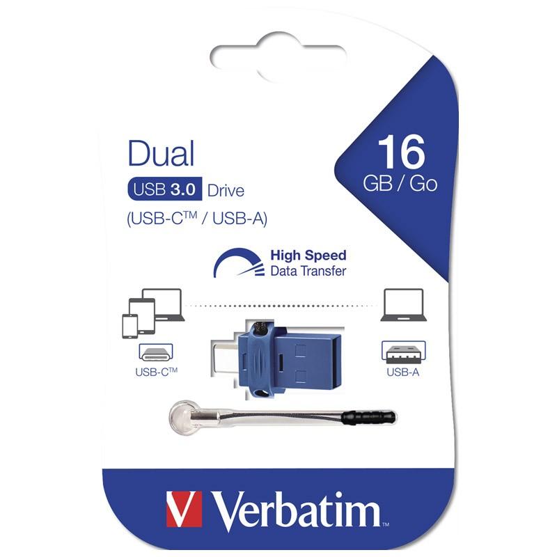 Pendrive 16GB con USB Tipo-C y USB 3.0 Verbatim Dual Tipo C