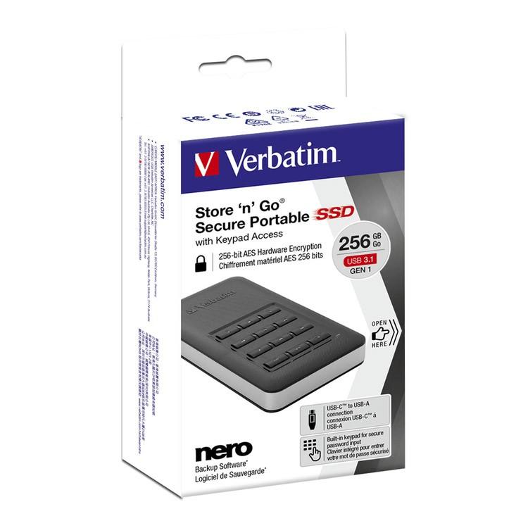 Disco Duro SSD Externo 256GB Verbatim Store \'n\' Go Secure Portable