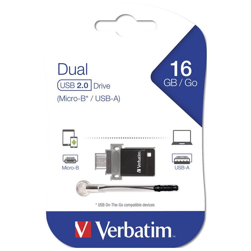 Pendrive 16GB con MicroUSB Verbatim Dual
