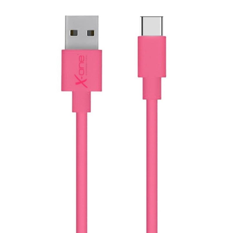 Cable Plano USB Tipo-C X-One CPC1000 Fucsia 1mtr