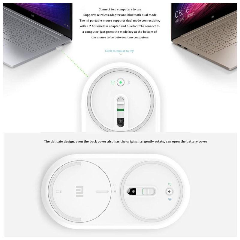 Ratón Inalámbrico + Bluetooth Xiaomi Mi Portable Mouse Oro 1200DPI
