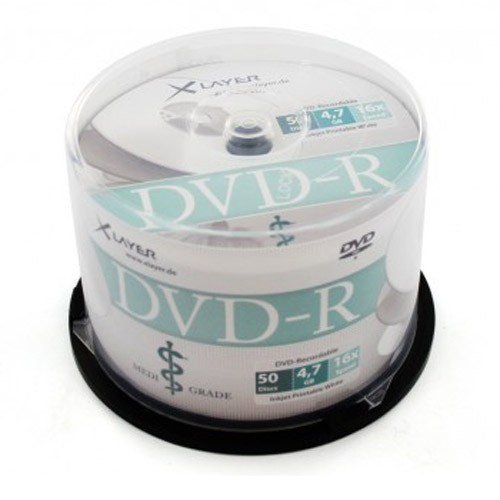 DVD-R 16X XLayer MediGrade Printable FF White Tarrina 50 uds