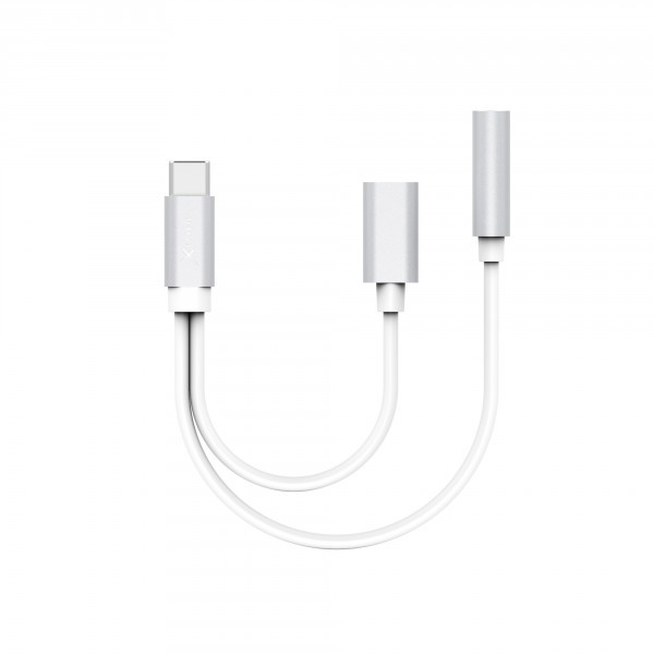Cable Divisor USB Tipo-C a USB Tipo-C y Aux 3.5mm Xlayer 215071