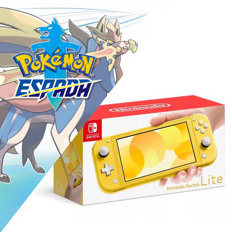 Nintendo Switch Lite Amarillo + Pokemon Espada