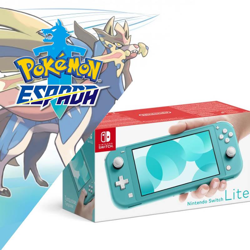 Nintendo Switch Lite Azul Turquesa + Pokemon Espada