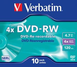 DVD-RW Verbatim 4x Caja Jewel Pack 10 uds