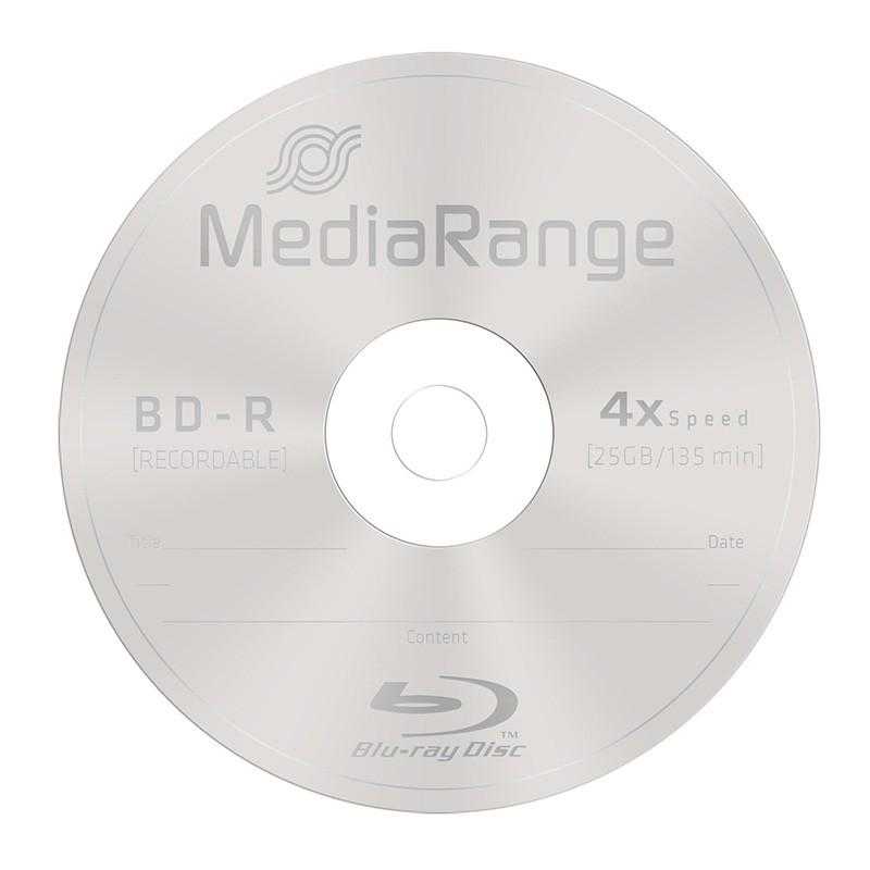Blu-ray BD-R SL 25GB 4x MediaRange Tarrina 10 uds