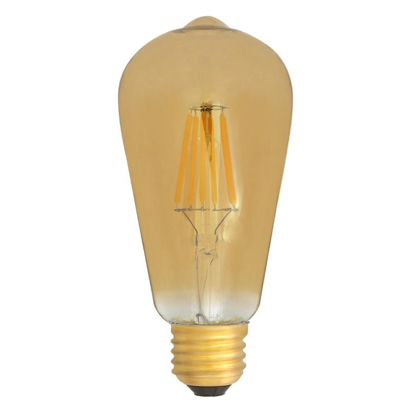 Bombilla Filamento LED E27 6W 2400K 600lm ST64 Edison Dorada
